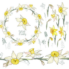 Round frame with pretty yellow daffodils. Festive floral circle for your season design.