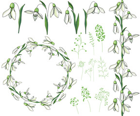 Round frame with pretty white snowdrops. Festive floral circle for your season design.
