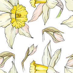 Seamless floral decorative pattern with white daffodils. Endless texture for your design, fabrics, decor.
