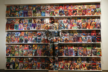 Liu Bolin, a Chinese artist, blends himself into the background in front of a shelf lined with comic books in Caracas