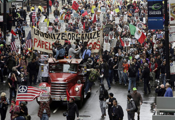Protesters take part in a May Day demonstration in Chicago