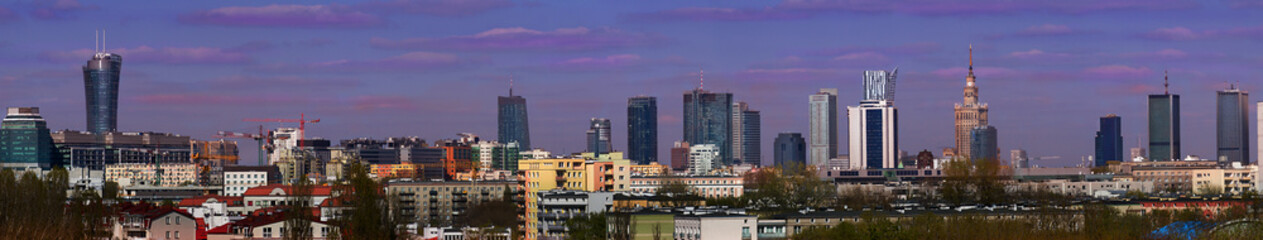 Panorama of Warsaw, the capital of Poland