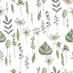 Seamless season pattern with contour wild flowers, herbs and leaves. Endless texture for floral summer design with plants