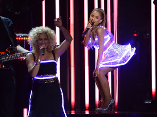 """Singer Ariana Grande performs """"Bang Bang"""" with Little Big Town during the 48th Country Music Association Awards in Nashville"""