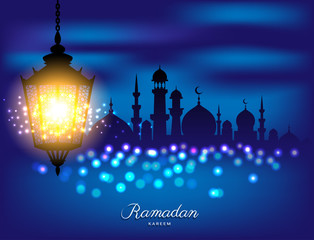 Beautiful bright lamp with Mosque for ramadan of Islam