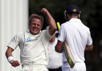 New Zealand's Wagner celebrates after dismissing England's Pietersen for 12 runs during the fifth day of the first test in Dunedin