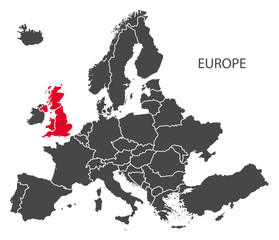 Europe with countries Map dark grey including highlighted Britain in red (BREXIT)