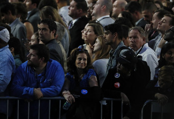 Supporters of U.S. Democratic presidential nominee Hillary Clinton watch results at her election night rally in Manhattan