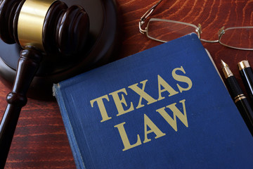 Papiers peints Texas Book with title Texas law and a gavel.