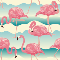 Canvas Prints Flamingo Tropical Bird Flamingo Background - Seamless pattern vector
