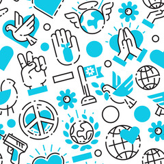 Peace blue love world freedom international free care hope seamless pattern vector illustration