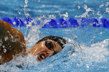 Lebanon's Katya Bachrouche swims in the women's 800m freestyle heats during the London 2012 Olympic Games