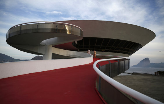 A general view of the Contemporary Art Museum (MAC) is seen with the Sugar Loaf mountain in the background at the Niteroi city in Rio de Janeiro