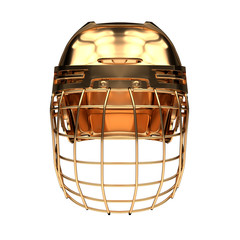 Golden Ice Hockey Helmet. Front view. Cup and Competition equipment. Template 3D render illustration. Isolated on a white background.