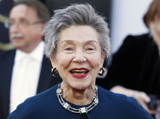 """French actress Emmanuelle Riva, best actress nominee for her role in """"Amour"""", arrives at the 85th Academy Awards in Hollywood"""