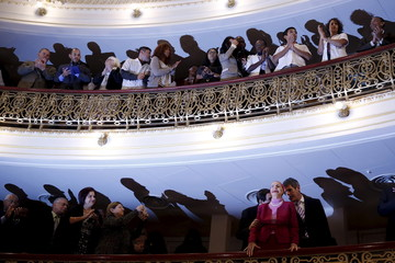 Cuba's prima ballerina assoluta and director of the Cuban National Ballet, Alicia Alonso reacts to the audience as she takes her seat to listen to U.S. President Barack Obama's speech to the Cuban people in Havana