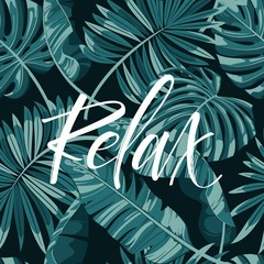 Tropical background of palm leaves. Seamless tropical palm leaves backdrop. Paradise Hand Letteing sign. Not trace.