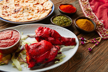 Chicken Tandoori indian recipe with spices