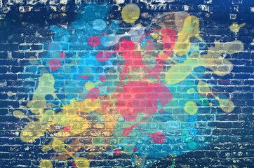 Fotobehang Graffiti Paint splash on brick wall