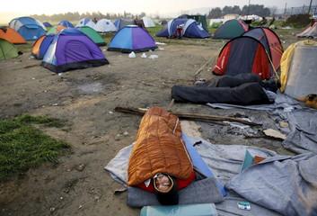 Refugee is seen near the Greek-Macedonian border close to the village of Idomeni