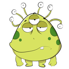 Ugly Green Alien. a scary Creature with big face and tentacle eyes.