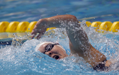 MacLean swims during Women's 400m freestyle at the Canadian Olympic swimming trials in Montreal