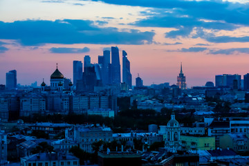 """Evening Moscow panorama. In the background, the complex """"Moscow-city"""" and the Church """"the Cathedral of Christ the Savior."""""""