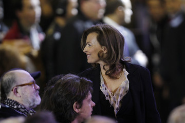 French journalist Trierweiler, companion of Hollande, Socialist Party candidate for the 2012 French presidential election, arrives to attend a political rally in Le Bourget near Paris
