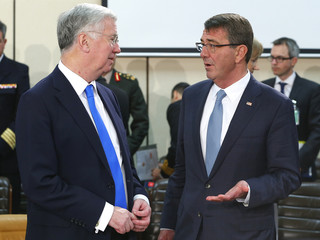 Britain's Secretary of State for Defence Michael Fallon and U.S. Secretary of Defense Ash Carter attend a NATO defence ministers meeting at the Alliance's headquarters in Brussels