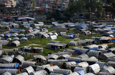Makeshift shelters are pictured inside the displacement camps for earthquake victims at Chuchepati in Kathmandu