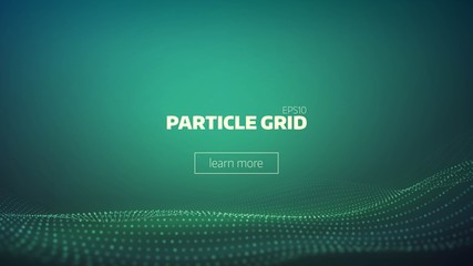 particle grid abstract background. Technology minimal backdrop for presentation. Cyber wave