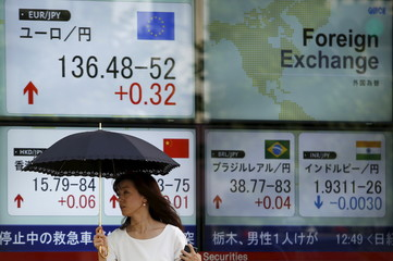 A woman walks past electronic boards showing various currencies' exchange rates including between Japanese Yen against Euro outside brokerage in Tokyo