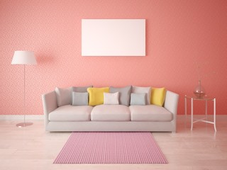 Mock up the living room in Scandinavian style with stylish red wallpaper.