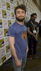 """Cast member Radcliffe poses at a press line for """"Victor Frankenstein"""" during the 2015 Comic-Con International Convention in San Diego"""