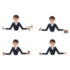 Business woman office job stress work vector illustration person manager character