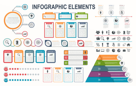 Infographic elements, diagram, workflow layout, business step options, banner, web design.