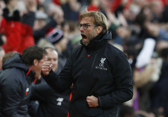 Liverpool manager Juergen Klopp celebrates after Philippe Coutinho scored their second goal