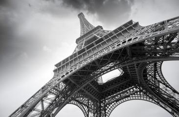 Eiffel Tower in Paris, gray day, black and white picture