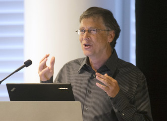 Microsoft founder Bill Gates addresses a press conference in Seattle