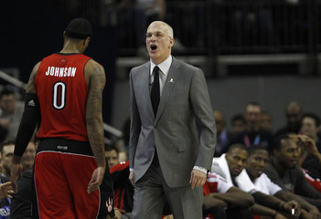 Toronto Raptors head coach Triano reacts during in the second half of their NBA game against the New Jersey Nets in London