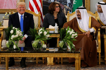 Saudi Arabia's King Salman welcomes Trump with coffee in the Royal Terminal in Riyadh