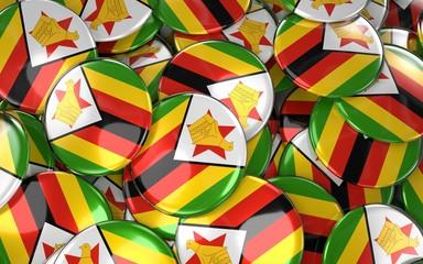 Zimbabwe Badges Background - Pile of zimbabwean Flag Buttons.