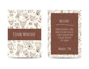 African drums banner with zulu ornament. Djembe pattern. Sketchy flyer design decorated with african ethnic instruments. Hand drawn doodles. Design set for percussion school, drum classes or jam.