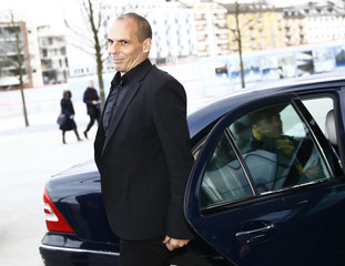 Greek Finance Minister Varoufakis arrives at the European Central Bank in Frankfurt