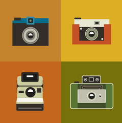 illustration icon set of vintage photo camera