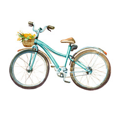 Watercolor illustration. girl's mint bicycle with basket full of yellow flowers.