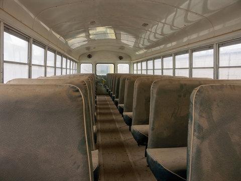 inside of abandoned bus