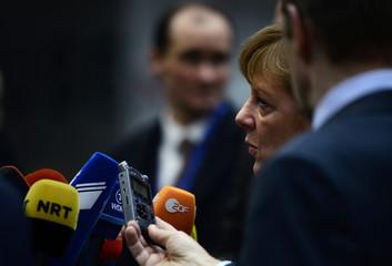 German Chancellor Angela Merkel arrives for a European Union leaders summit in Brussels