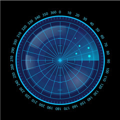 Digital Blue Radar Screen on Black Background