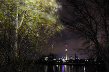 The leaves on a tree are moved by the wind as the Donauturm is seen in the background on a windy evening in Vienna